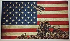 "Battle of Iwo Jima American Flag GIANT WIDE 42"" x 24"" Poster Print World War 2"