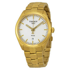 Tissot PR100 Silver Dial Gold PVD Mens Watch T1014103303100