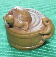 Japanese Fine Detailed Wood Hand Carved Treen Boxwood Netsuke Tortoise and Frog