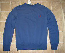 Men's $90 (S) POLO RALPH LAUREN Blue Terry Cloth Fleece PONY Sweatshirt