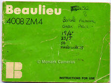 Beaulieu 4008 ZM4 guide d'instruction book. plus 8mm caméra manuels mis en vente