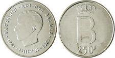 BELGIQUE  , BAUDOUIN  ,  250  FRANCS  ARGENT  1976  DES  BELGES