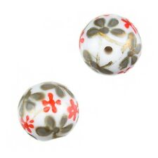 Hand Painted Round Glass Beads (Red Flower Design) 14mm Pack of 2 (D43/1)