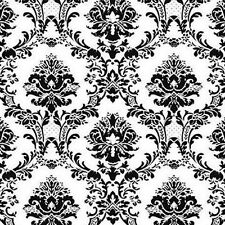 WALLPAPER SAMPLE    Black and White Victorian Damask