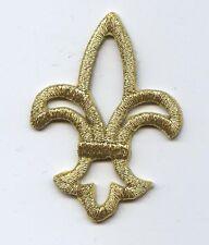 Iron On Embroidered Applique Patch Open Metallic Gold Fleur De Lis Saints