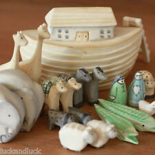 East of India MINI Wooden Noah Ark & Animals Baby Keepsake Christening Present