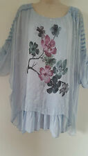 Italian Lagenlook Silk Top Tunic Blue Flower Quirky Design Size 14 16 18 20