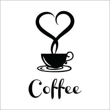 1x Coffee Cup Sticker Decal Cafe Restaurant Kitchen Wall Window Decor 2016