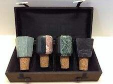 Vintage Set of 4 Wine Corks with Stone Tops and Hard Case