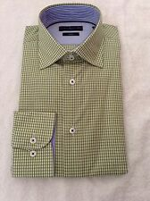 BNWT 100% Auth By Tommy Hilfiger Mens GREEN Checked Shirt With Logo. 38/15