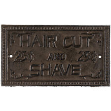 Cast Iron HAIR CUT & SHAVE SIGN PLAQUE ~ Rustic Vintage Look Wall Decor. 25Cents