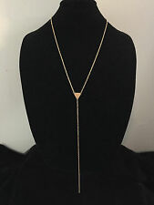 Long Minimalist Y Chain LARIAT NECKLACE Gold Plated Drop Pendant Geometry