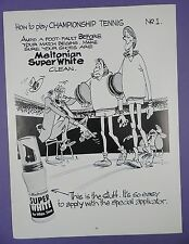 Super White For Shoes- How To Play Championship Tennis,1980s Page Mag Advert