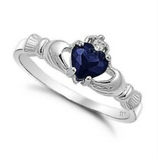 .925 Sterling Silver Ring size 4 CZ Claddagh Heart Blue Sapphire Midi Ladies New