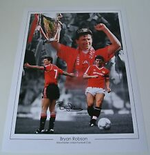 Bryan Robson Signed Autograph 16x12 photo Montage Manchester United PROOF & COA