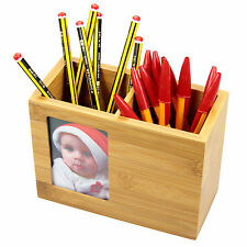 Bamboo Pen Holder with Photo, Pencil Pot
