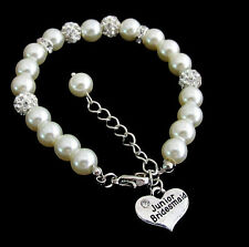 Junior Bridesmaid Ivory Pearl Rhinestone Bracelet,Children's Wedding jewelry