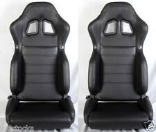 NEW 2 BLACK PVC LEATHER RACING SEATS RECLINABLE W/ SLIDER ALL CHEVROLET ****
