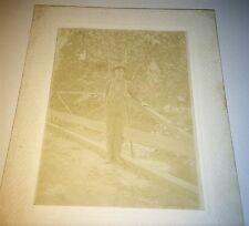 Antique American Country Boy, Foot Bridge! Wooster Ohio Fair Sign Cabinet Photo!
