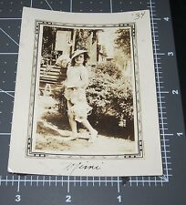 CUTE Young Girl Chinese Dress Asian Hat Lanterns 1930's Vintage Snapshot PHOTO