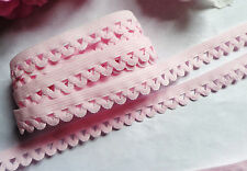 Stretch Trim Pink 1/2 inch wide  Picot Skinny Elastic with Scallops 34 inch cut