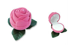 "1 Rose Flocked Jewelry Ring Boxe, Tuck-in Packer, Pink Velvet 2 1/4""x2 1/4"","