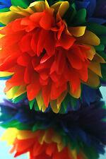 """3 Rainbow papier absorbant pompons 12 """"taille-décoration de mariage partie fait main"""