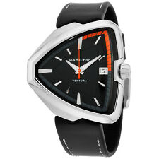 Hamilton Ventura Black Dial Black Leather Strap Men's Watch H24551731