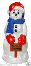 "*NEW* 31"" Snowman With Sign Outdoor Lighted Christmas Blow Mold Yard Decor #1"