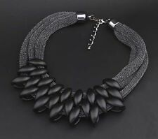 Crystal Chunky Statement Bib Pendant Chain Choker Necklace Fashion Jewelry