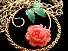Vintage Coral Rose Celluloid Rose Pearl Pendant Necklace Green Enamel Leaves