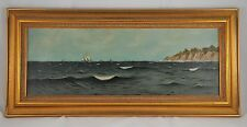 FRAMED OIL PAINTING OCEAN BOAT SEASCAPE of MARTHA'S VINEYARD GAY HEAD AQUINNAH
