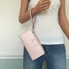 NEW! KATE SPADE Pink Wellesley Leather Carryall Zip Wallet Clutch Purse Wristlet