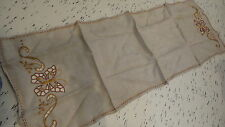 Antique Embroidered DOILY ON ECRU LINEN Cut-Out Butterfly, Rust, Gold, #2