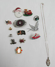 VINTAGE BROACHES PINS BELT BUCKLE AVON NECKLACE, TORQUOISE RING LOT