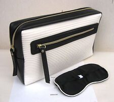 Estee Lauder Large Cream & Navy Lined Make Up/Toiletry Bag/Travel Case & Mask
