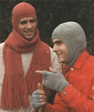 Mens Balaclava Scarf and Fingerless Gloves Knitting Pattern