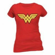 DC COMICS Women's Wonder Woman Logo Fitted T-Shirt, Large, Red  Brand New