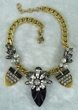 "NEW J. CREW JEWELED PENNANT NECKLACE FACETED GLASS STONES BLACK 16"" + 2.25""L"