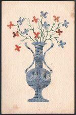 Aquarelle et timbres collés. Pot de fleurs