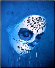 Original Day of the Dead Sugar Skull Blue High Quality On Canvas Print Poster A3
