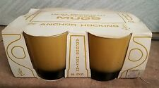 NEW IN PACKAGE ANCHOR HOCKING FIRE KING HEAT RESISTANT MUGS 4- 8 OZ. GOLD/ BROWN