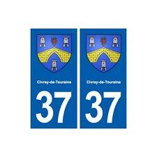 37 Civray-de-Touraine blason autocollant plaque stickers ville immatriculation d