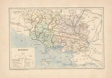 C9057 France - MORBIHAN - Cartina geografica antica - 1892 antique map