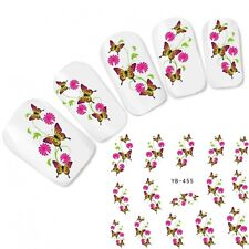 Nagel Sticker Blumen Nail Art Aufkleber Flower Butterfly Fuß Water Decal