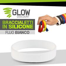 5* BRACCIALETTI SILICONE BIANCO FLUO bracciali colorati livestrong gomma 926021