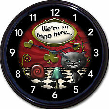 Alice in Wonderland Mad Hatter We're All Mad Here Cat Wall Clock UK New 10""