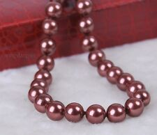 """10mm Chocolate South Sea Shell Pearl Round Gemstone Necklace AAA Grade 18"""""""