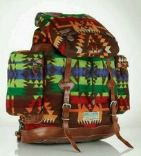 POLO RALPH LAUREN CHIEF POLL SOUTHWESTERN INDIAN BLANKET & LEATHER BACKPACK, NWT