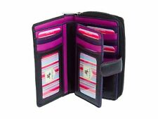 Visconti R13 Ladies Girls Leather Wallet Purse Black Pink Travel Cards Case Gift
